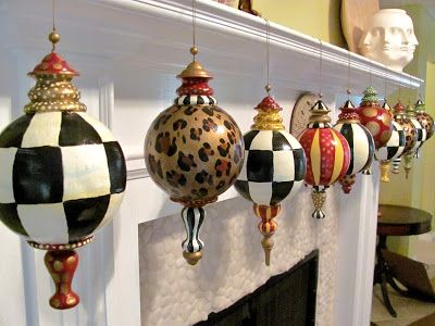 Hand Painted Large Finial Style Designer Christmas Ornaments Black And White Checks Stripes