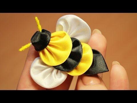 Пчела Канзаши Мастер класс ൠ DIY Kanzashi bee - YouTube