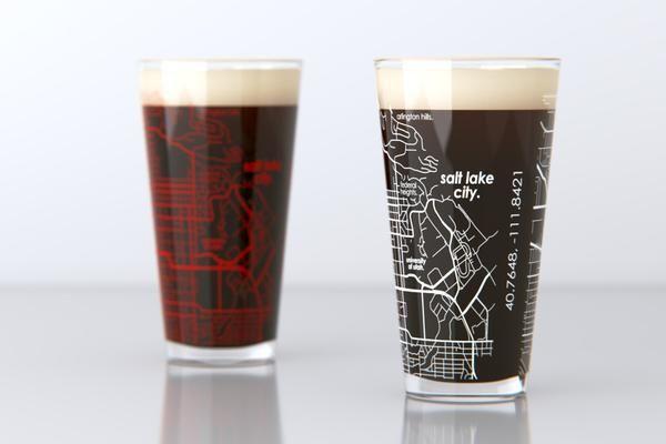 Salt Lake City, UT - University of Utah - College Town Map Pint Glass Set
