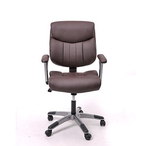 Coavas Leather Office Task Chair With Arms (brown)