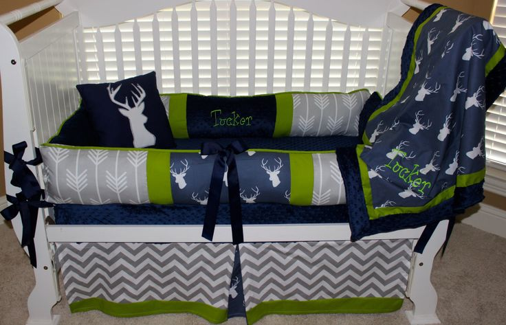 Custom baby bedding 6 pc set woodland, deer, forest, lodge, grey chevron and navy and lime by BabiesNBaubles on Etsy https://www.etsy.com/listing/178812333/custom-baby-bedding-6-pc-set-woodland