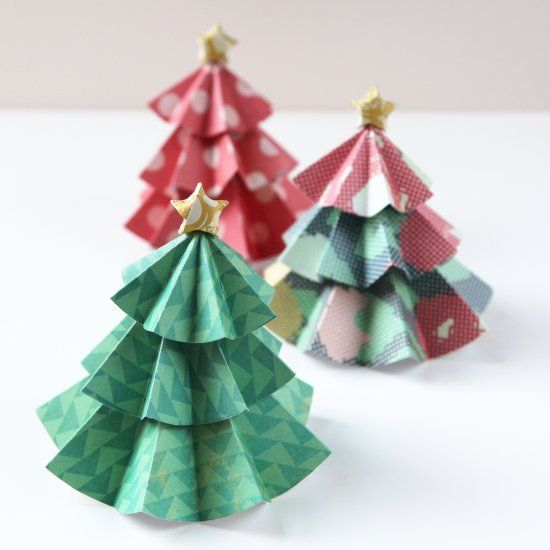 Quick and easy Diy Paper Christmas Trees topped with Origami Stars.