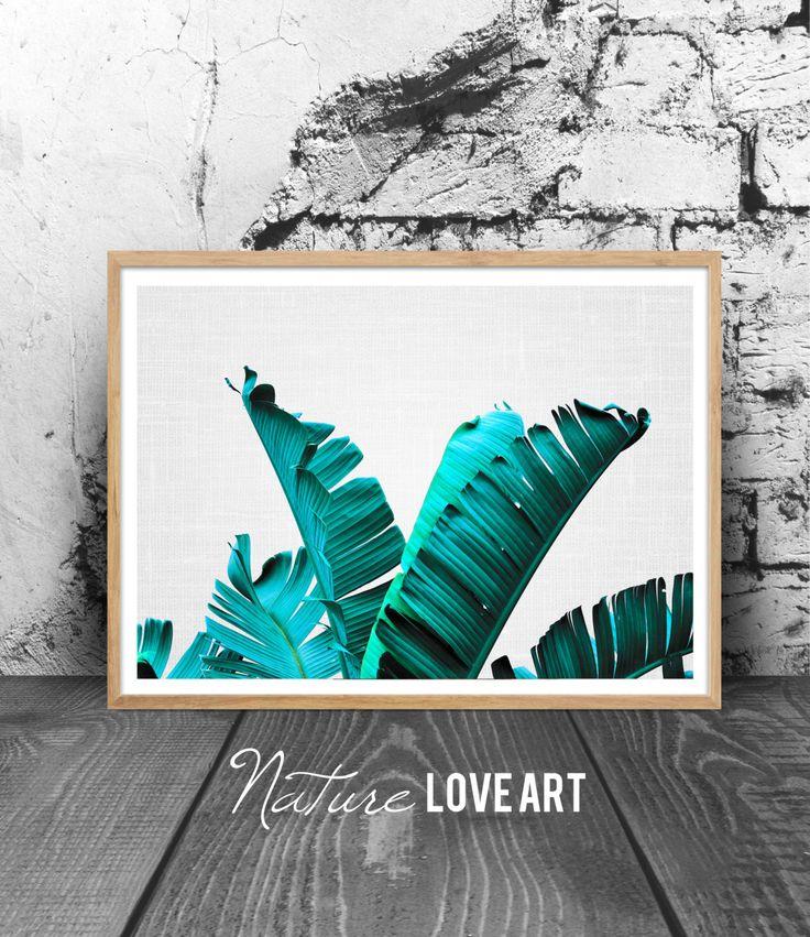 Photographie palmier, feuilles de palmier, décoration exotique, déco murale palmier, poster tropical, poster plante, photo bananier de la boutique NatureLoveArt sur Etsy