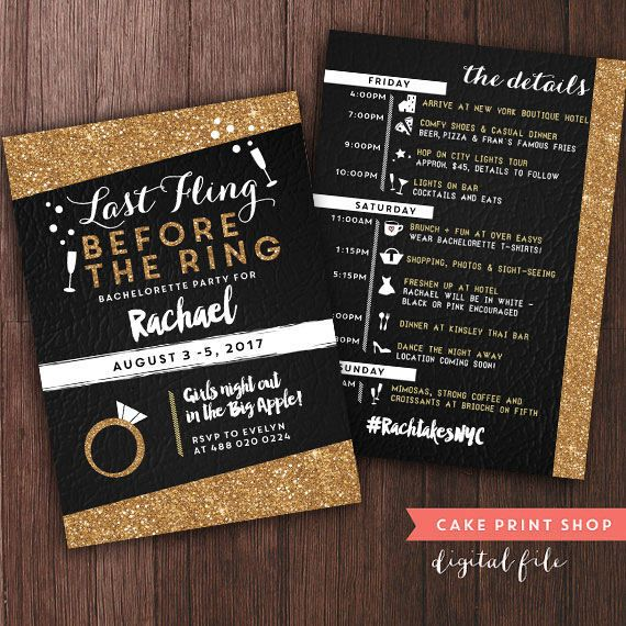 Bachelorette Weekend invite with itinerary, bachelorette itinerary, PRINTABLE bachelorette itinerary, gold bachelorette party with itinerary  Based on a cute custom order - Classic Gold & Black - 5 x7 printable bachelorette invite - Colors may be changed. PLEASE INCLUDE 1. Bachelorette party details, as you would like them to be worded. 3. Accent color, if you would like a different color than white.  2. Please let me know how youll be printing - your file will be set up to match. If usi...