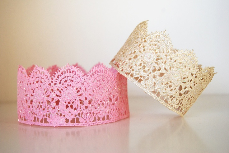 Lace Crown, Princess Crown, Gold Crown, Pink Crown, Party Favor, Photo Prop, Flower Girl. $12.00, via Etsy.
