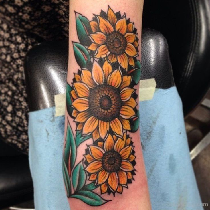 Forearm Three Realistic Sunflower Tattoo