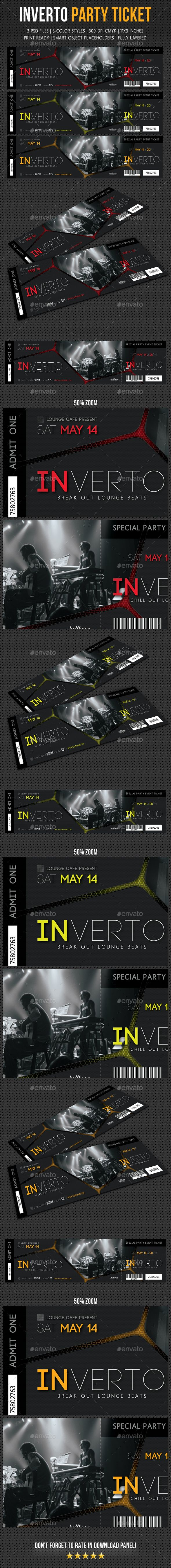 Inverto Party Event Ticket Design Template V3 - Cards & Invites Print Templates PSD. Download here: https://graphicriver.net/item/inverto-party-event-ticket-v3/19287623?ref=yinkira