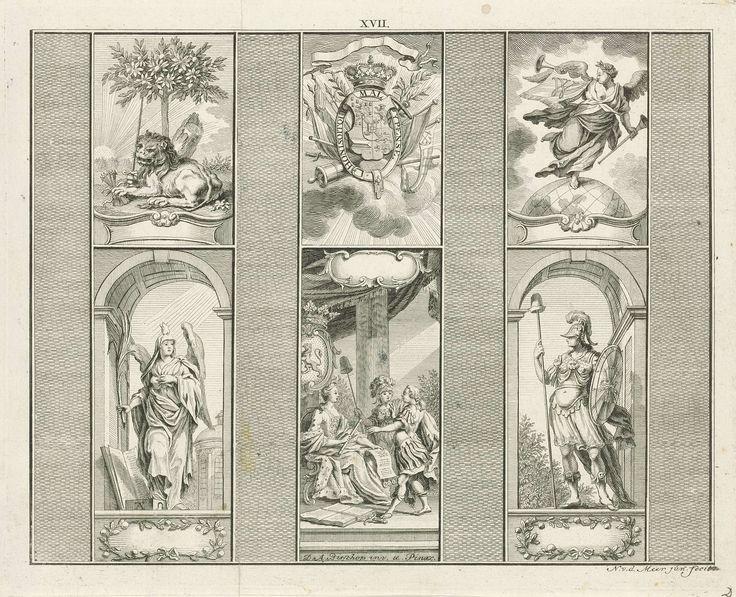 Noach van der Meer (II) | Decoraties bij het huis van de heer Bisschop te Rotterdam, 1766, Noach van der Meer (II), Cornelis van Hoogeveen Junior, 1776 | Decoraties aangebracht bij het huis van de heer Dirk Anthony Bisschop te Rotterdam. Zes panelen met allegorische voorstellingen en emblemen. Linksboven de Hollandse Leeuw met de pijlenbundel en het zwaard, midden boven het wapenschild van Willem V. Rechtsboven de Faam met een banier met de letter W. Linksonder de personificatie van het…