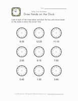 Kids Clock Worksheet - 5 Minute Intervals