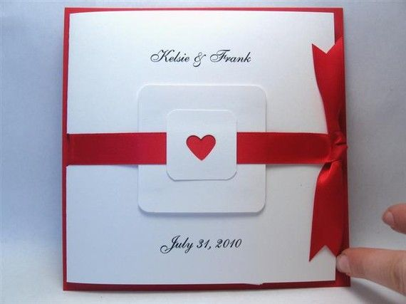 Red and White Heart Themed Wedding Invitation by PoppiesAndPetals, $5.00