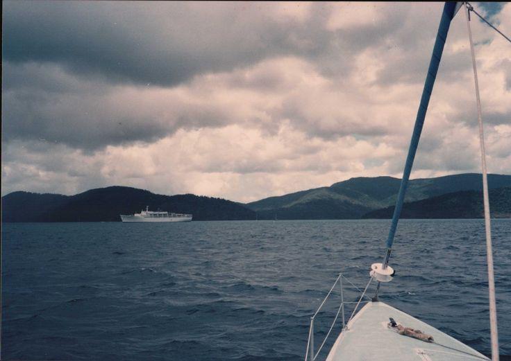 Cruise ship. Looking East towards Whitsunday Island.