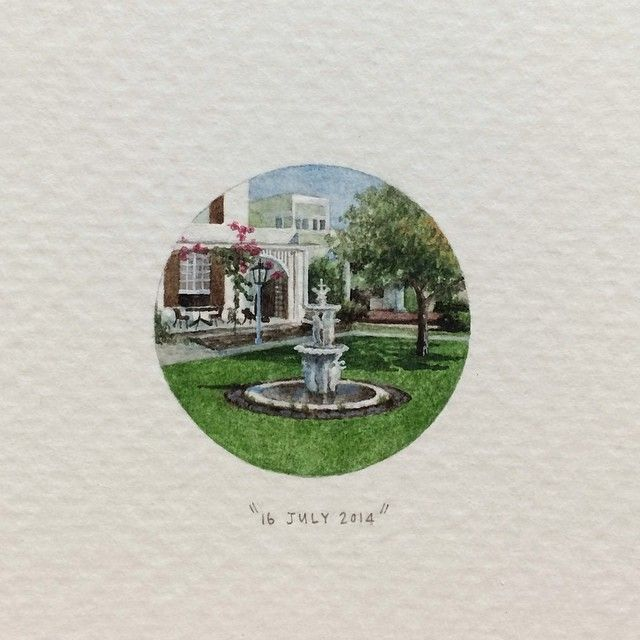 Day 197 : The Vineyard Hotel. 27 x 27 mm. #365postcardsforants #wdc624 #miniature #watercolour #thevineyardhotel #newlands #capetown  (at The Vineyard Hotel & Spa)