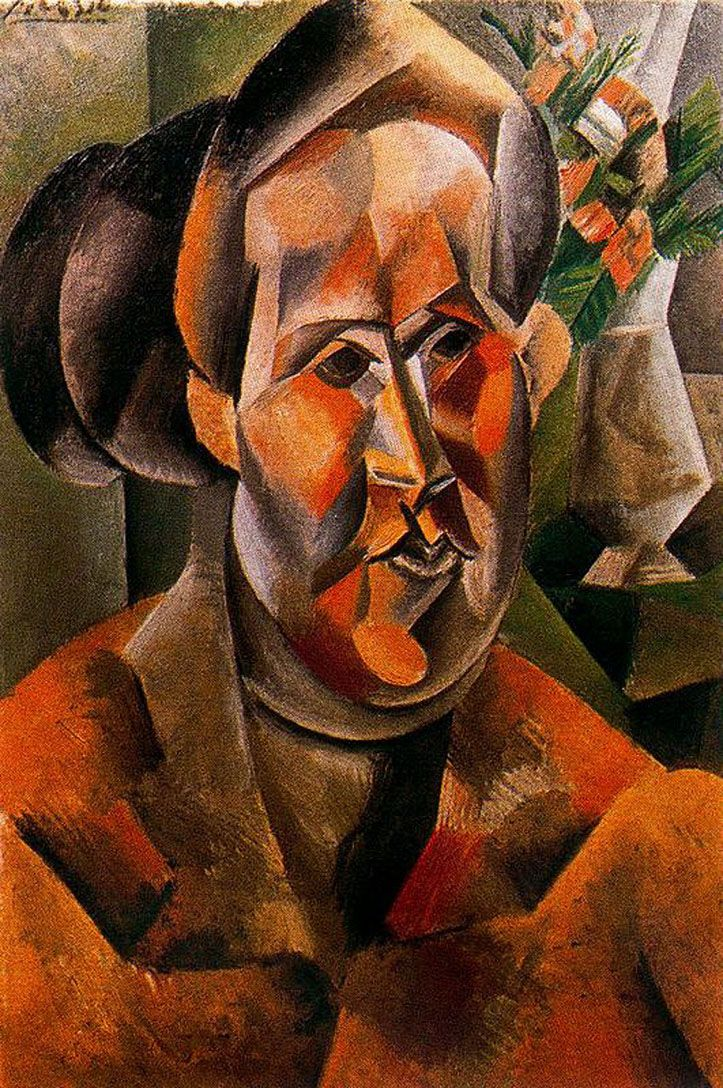 Bust of woman with flowers -   Pablo Picasso 1909