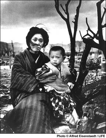 """Alfred Eisenstaedt-""""A mother and her child in the bombed landscape of Hiroshima, Japan, 1946"""""""