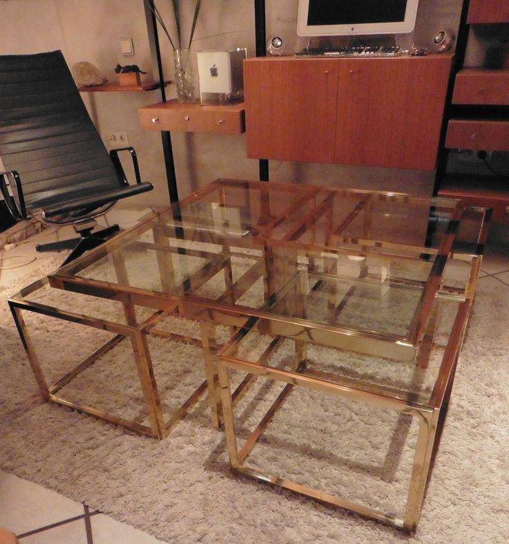 Design Regency Coffee Table Maison Charles Brass / Messing 60er / 70er Jahre