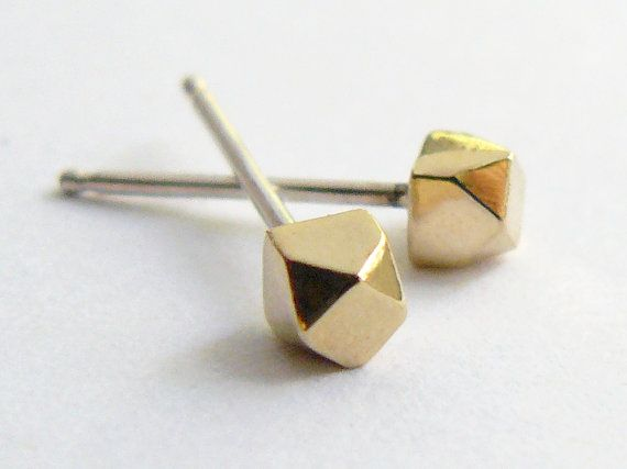 Gold Stud Earring - Geometric Faceted Jewelry - Gold Earrings Studs on Etsy, $46.00
