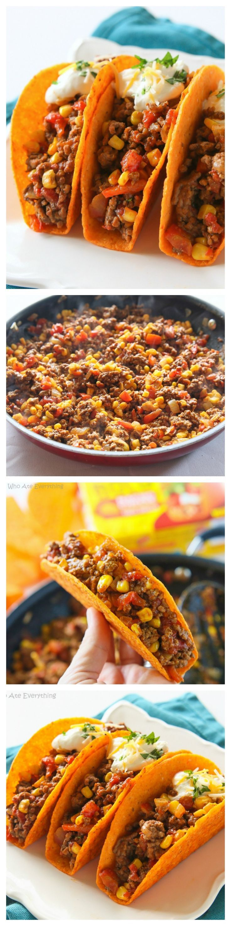 These Texas Tacos are a Tex-Mex twist on your classic taco. It's filled with taco meat, bell peppers, onions, diced tomatoes, and corn all in a nacho cheese shell. Yum!