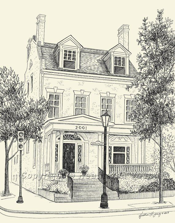 Custom House Portrait Pen Ink Drawing Architectural Sketch