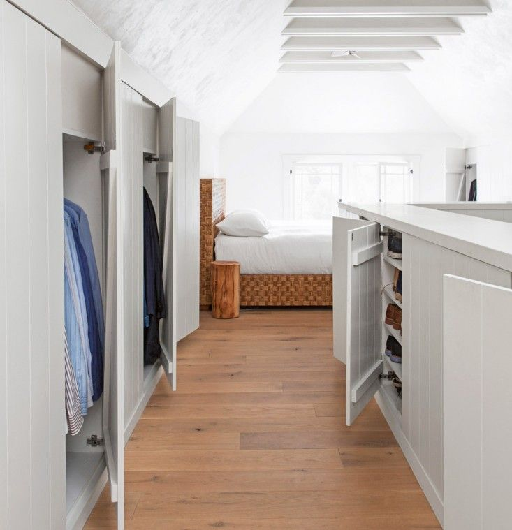 Like the carved out shoe storage Tim-Clarke-Closet-Touch-Latch-Cabinets-House-Beautiful-Remodelista