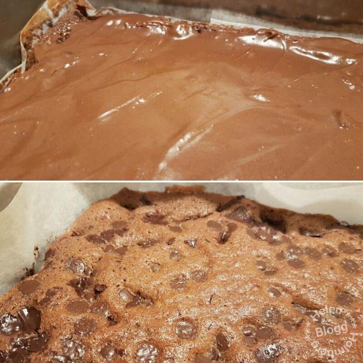 Nuttekladdkaka, en chokladbomb till kladdkaka med glasyr och chokladbitar i.