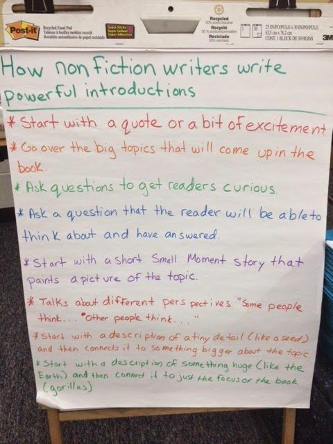 How Non Fiction Writers Write Powerful Introductions Anchor Chart