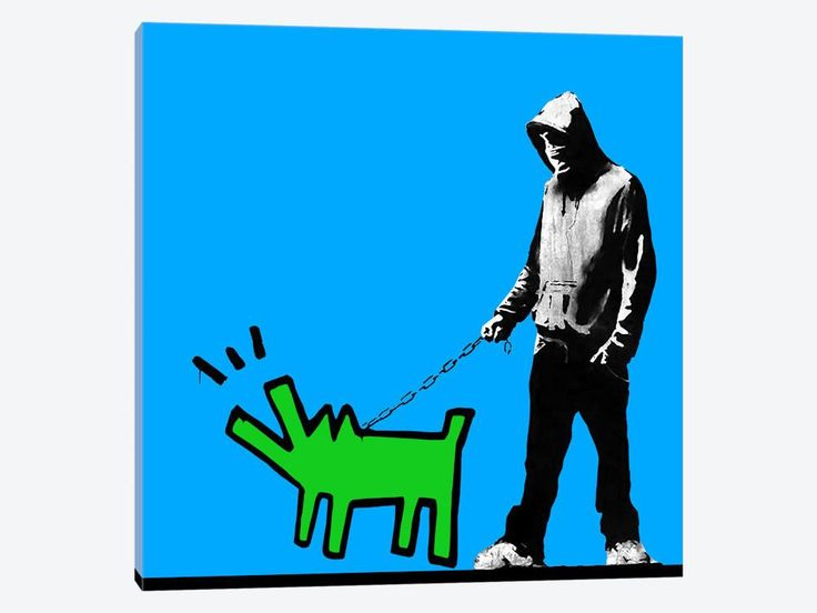 "Choose Your Weapon Keith Haring Dog Blue color by Banksy Canvas Print 26"" L x 26"" H x 0.75"" D - eWallArt"