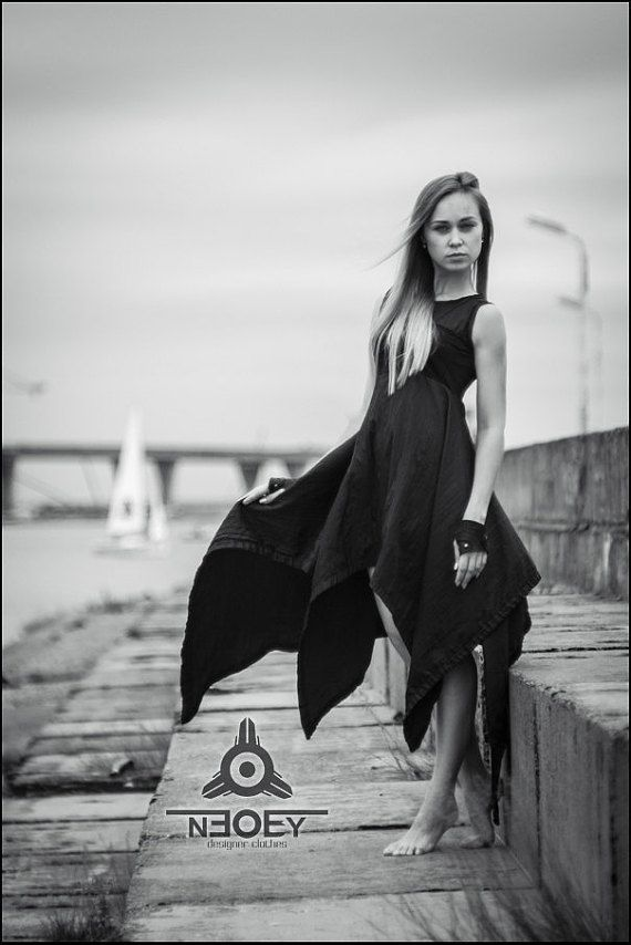 Black Friday!  10% discount on all products in black colour. Postapocalyptic Long black cotton dress Otto by NEOBY от NEOBYdc