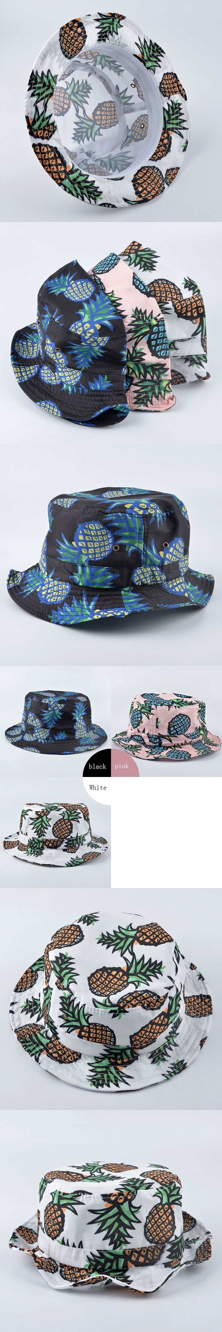 2016 ultrathin Bucket Hats pineapple Fruit pattern sun hats For Women Girls Men Fashion Lovely Summer Casual Cotton Fishing Hat