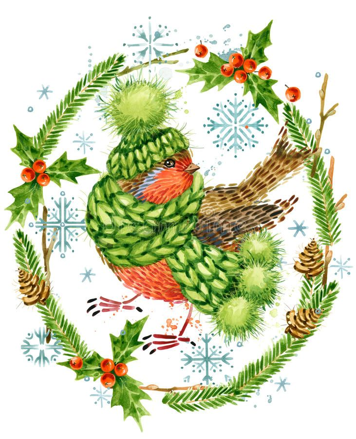 Cute bird. Christmas card. Forest animal. Watercolor