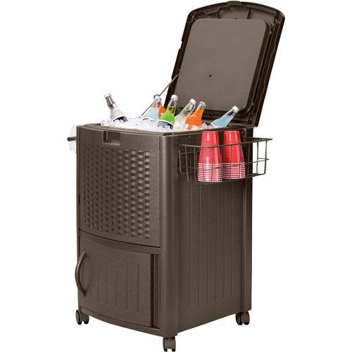 #outdoor resin wicker #cooler. 77-qt cooler holds 72 beverage cans or six 2-liter bottles. // Walmart $98.00