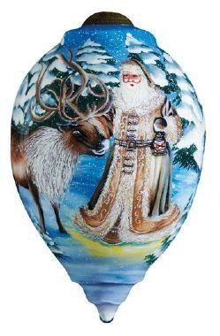 Ne'Qwa Art SANTA'S DEER FRIEND Glass Christmas Santa Ornament