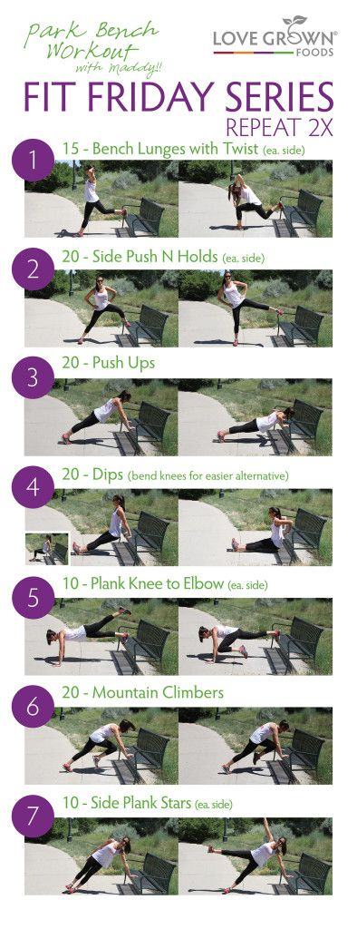 This workout ROCKS and all you need is a park bench! It is a full body workout and will get your heart racing. Repeat this series two times. Add cardio for a complete workout.