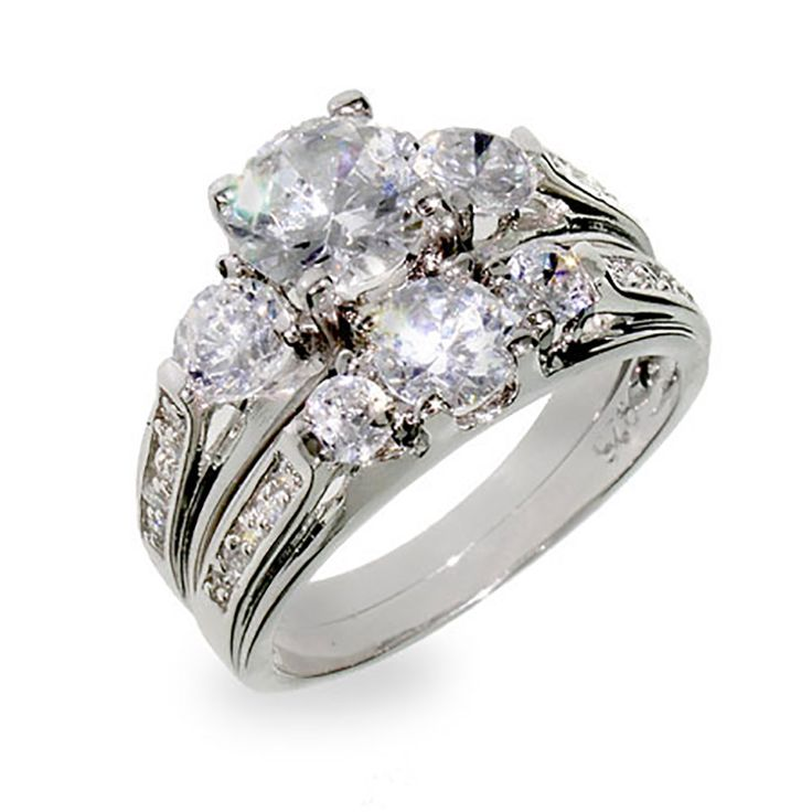 Designer Inspired Past Present And Future Wedding CZ Ring