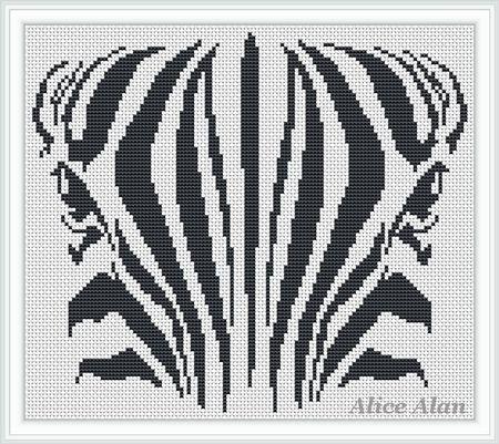 Face Zebra black-and-white monochrome Counted Cross от HallStitch