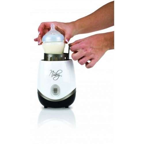Nuby Natural Touch Bottle and Food Warmer.  For safely and evenly warming breast milk, formula and baby food.  Available in Boots stores, Amazon and Nuby UK website for £16.99.  http://www.nuby-uk.com/view-product?path=65_37_id=463