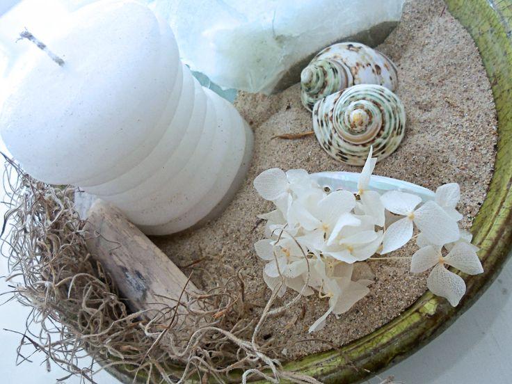 seaside #centerpiece  sand, shells, candle & #stabilized white #hydrangea