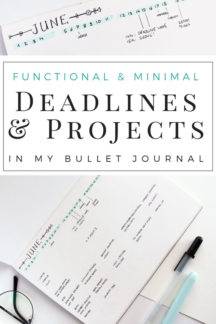 A simple, minimalist bullet journal monthly spread idea to keep track of deadlines and projects!  Easy to set up each month this time line tracker will remind you of all your goals. Find the layout tips as well as creative habit tracker ideas on the blog!