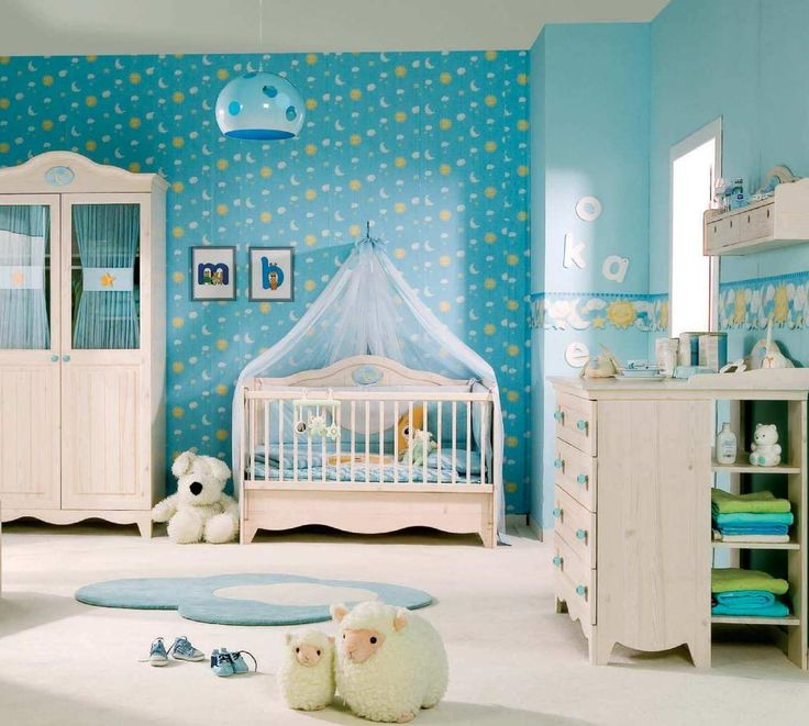 Blue Sky Themed Baby Nursery Room Decoration With Blue Sun Moon Star Wallpaper And Natural Wood Crib Furniture 26 Interior Nursery Baby Designs In
