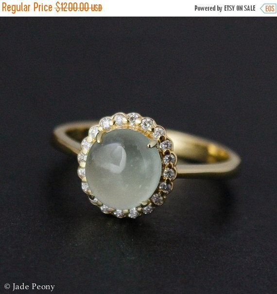 SPRING SALE Icy Mint Green Jadeite Ring – Diamond Halo – 10KT Yellow Gold - Vintage Inspired