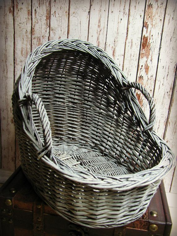 "Newborn Wicker Moses Basket Photography Prop 15.3"" long x 11.5"" tall x 10"" wide. $40.00, via Etsy."
