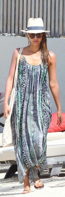 Jessica Alba: Dress – Lovers + Friends  Hat – Tory Burch