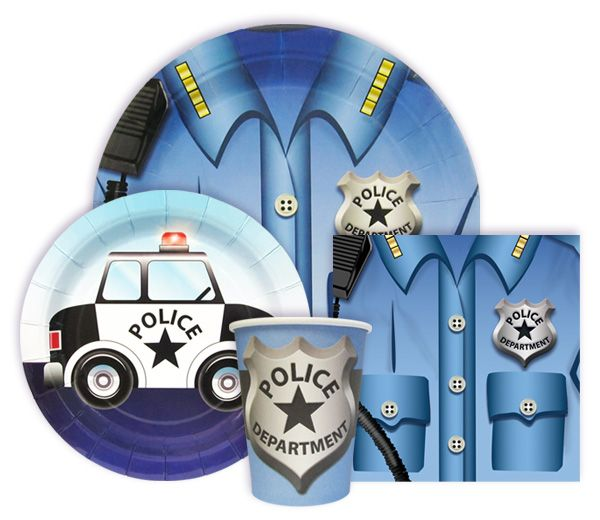 Police Party Supplies - Tableware including dinner plates, dessert plates, napkins and cups for a Police Birthday Party.