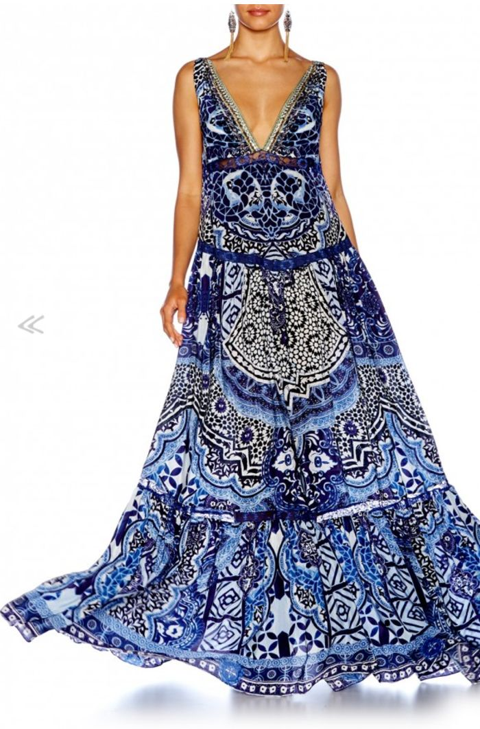 Camilla - Under The Medina Moon Tiered Gathered V Neck Dress