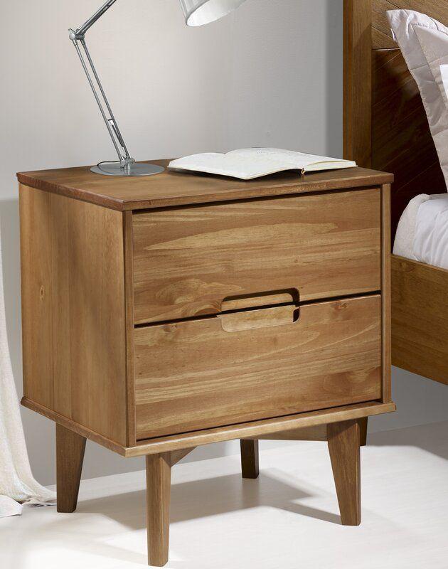 Garris Groove Handle Wood 2 Drawer Nightstand Cube Side Table 2 Drawer Nightstand Side Table With Storage