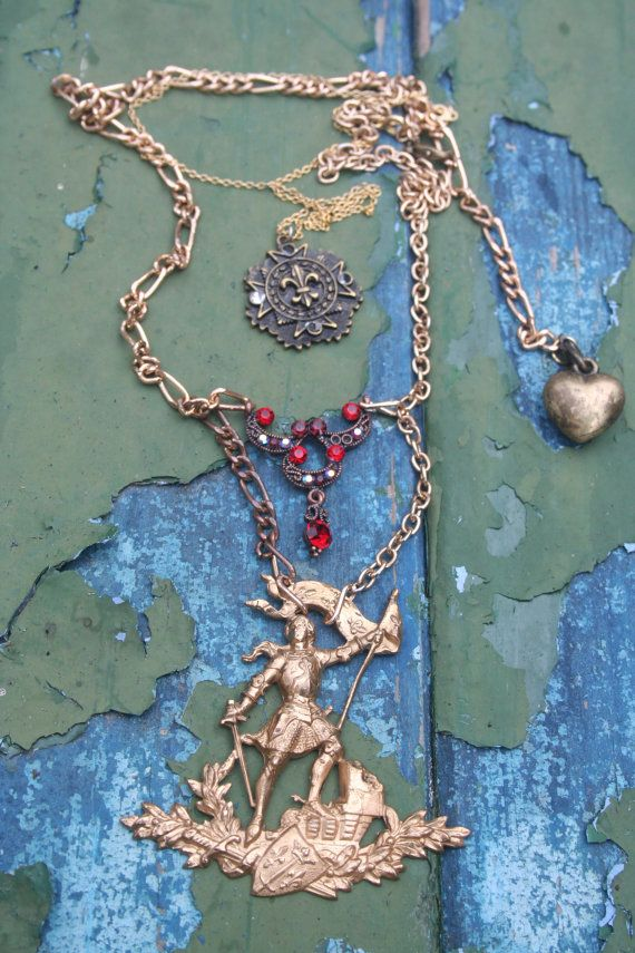 Joan of arc medal, Joan of Arc necklace, Joan of Arc, Joan of arc jewelry, Joan of arc pin, Assemblage necklace, Antique Assemblage, Vintage