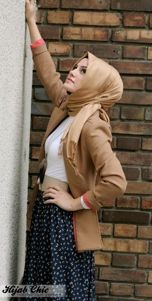 Camel Colored Scarf  Blazer. She's so adorable.