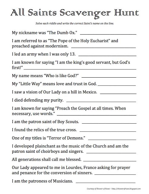 Shower of Roses: All Saints Scavenger Hunt {A Printable Party Game!}