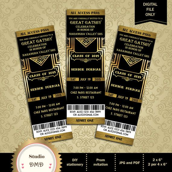 Great Gatsby Style Art Deco Party Invitation