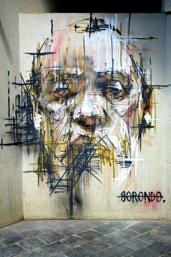 Street art (place Jean Vilar, Vitry-sur-Seine, Paris, France, July 2013) by Borondo