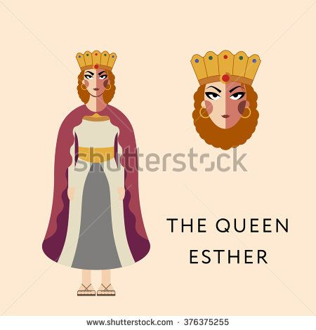Flat vector bible character for Jewish Religion Holiday Purim, Queen Esther puppet with costume, traditional symbol, The scroll of Esther - stock vector